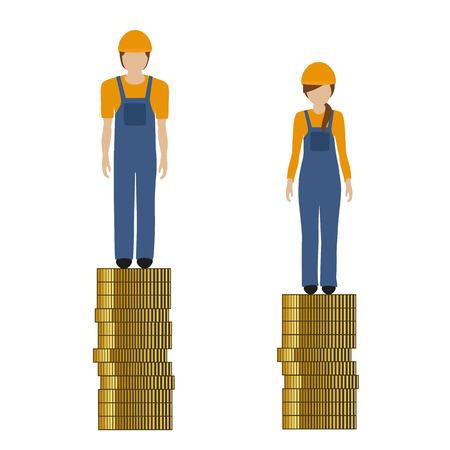woman earns less money than man construction worker discriminates vector illustration