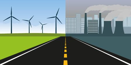 road towards city with pollution by industry and clean nature with wind energy vector illustration EPS10