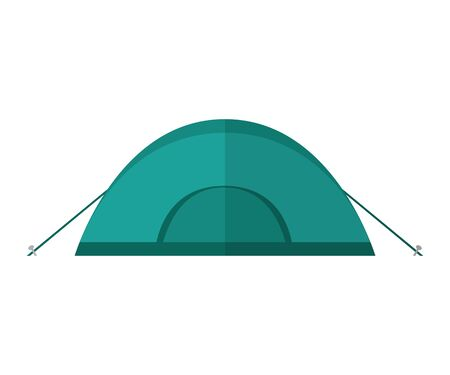 blue camping tent isolated on white background vector illustration