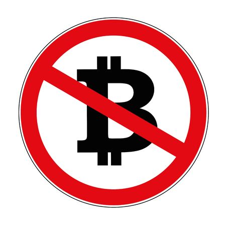 bitcoin crypto currency prohibited warning sign icon vector illustration Illustration