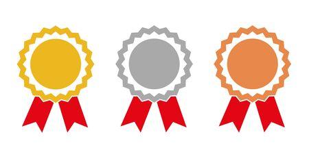 Campeón de oro, plata y bronce, medallas de premio, ilustración vectorial