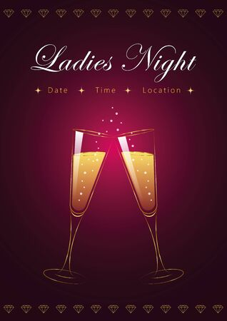 ladies night party poster with champagne glasses and diamonds vector illustration