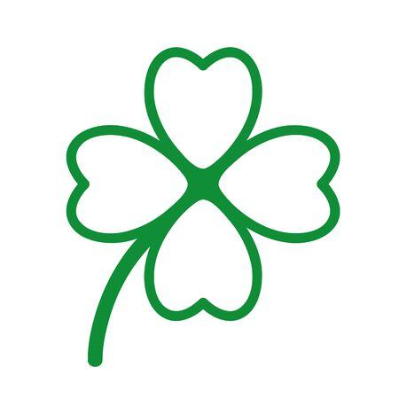 green cloverleaf isolated on white background vector illustration