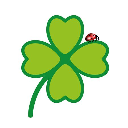 green cloverleaf with lady bug isolated on white background vector illustration  イラスト・ベクター素材