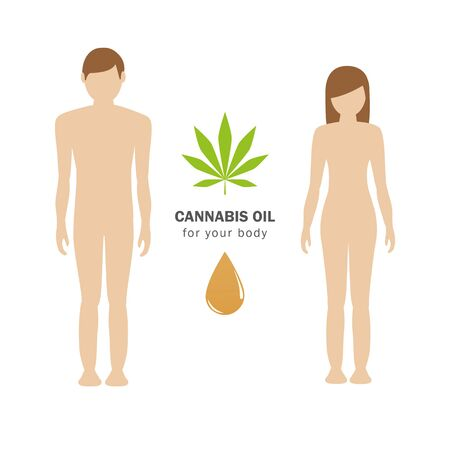 cannabis cbd oil for humans body concept with man and woman vector illustration  イラスト・ベクター素材
