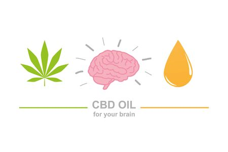 cbd oil for brain concept with cannabis leaf brain and oil drop vector illustration EPS10