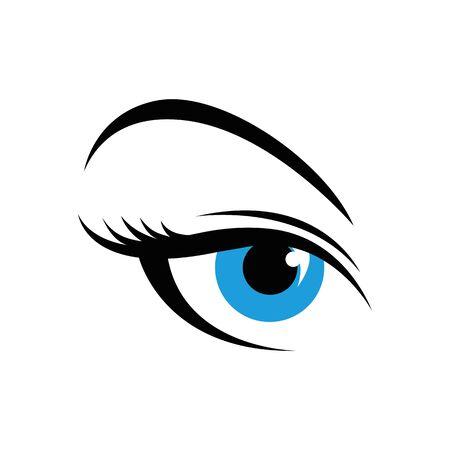 blue woman eye simple drawing vector illustration Illusztráció