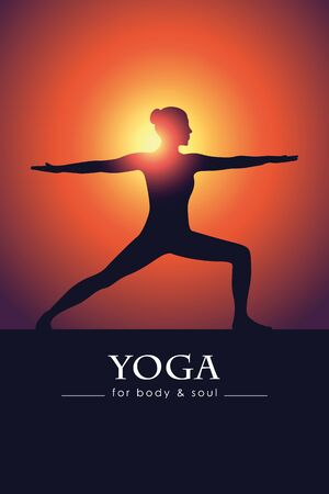 yoga for body and soul meditating woman silhouette vector illustration
