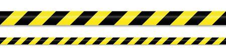 warning tape yellow black on white background vector illustration