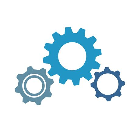 three blue gears business symbol teamwork vector illustration