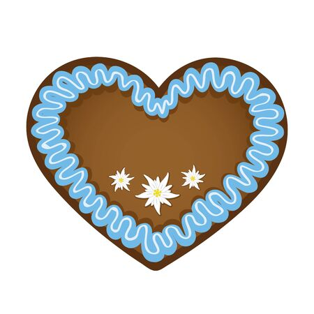 gingerbread heart blue and white with edelweiss flower vector illustration