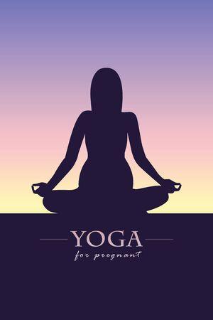 yoga for pregnant women silhouette vector illustration