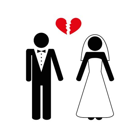 divorced bridge and groom picrogram vector illustration Illustration