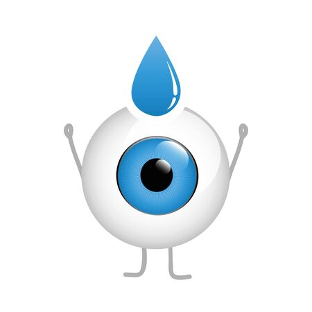 happy eye cartoon with eye drop isolated on white background vector illustration