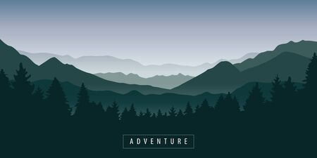 green foggy mountain and forest nature landscape vector illustration