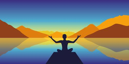 meditation silhouette by the lake with autumn mountains background vector illustration Vettoriali