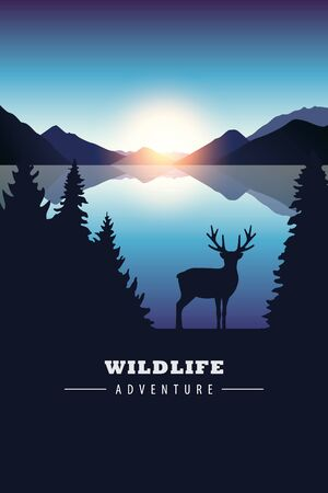 wildlife adventure elk in the wilderness by the lake at sunset vector illustration Çizim