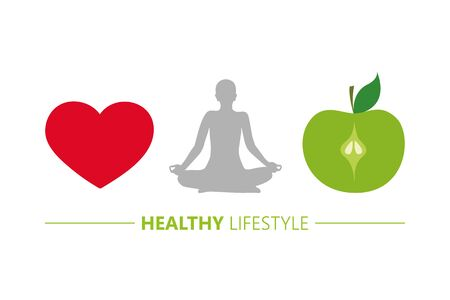 healthy lifestyle concept heart yoga and green apple vector illustration