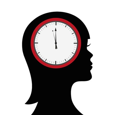 head of a woman with clock in the brain vector illustration