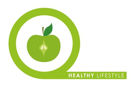healthy lifestyle green apple in a circle vector illustration EPS10