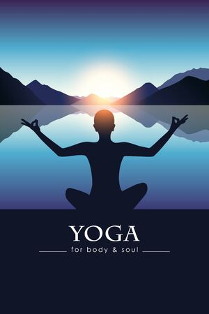 yoga for body and soul meditating person silhouette by the lake with blue mountain landscape vector illustration EPS10 向量圖像