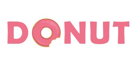 pink donut typography with bitten donut vector illustration EPS10