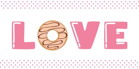 pink love typography with donut and sprinkles vector illustration EPS10