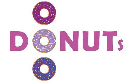 purple donut typography with sprinkles vector illustration EPS10 Illusztráció