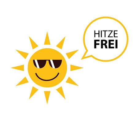 happy summer sun with sungasses and german text heat free vector Illustration EPS10