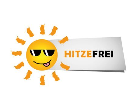 happy smiling summer sun with sunglasses and german text heat free vector Illustration EPS10 向量圖像
