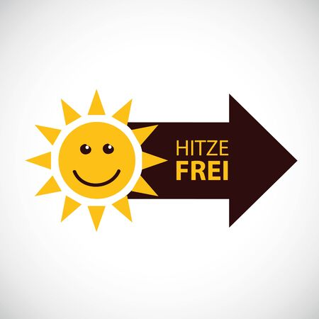 happy smiling summer sun with german text heat free vector Illustration EPS10