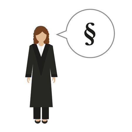 female judge character talks about law vector illustration EPS10 Ilustração