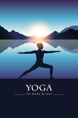 yoga for body and soul meditating girl silhouette by the lake with blue mountain landscape vector illustration EPS10 向量圖像