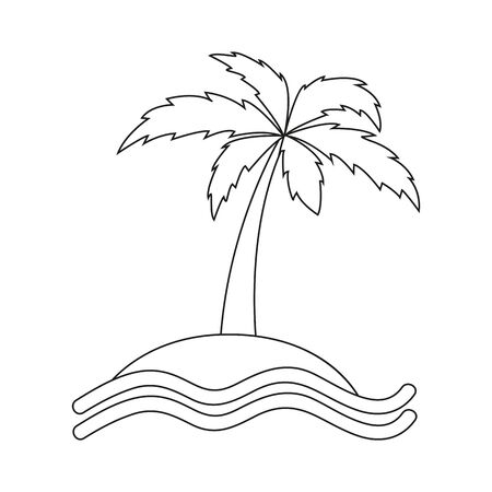 island with palm tree outline drawing vector illustration EPS10