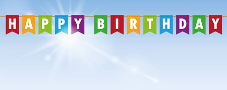 happy birthday party flags banner on blue sunny background vector illustration EPS10