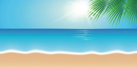 summer holiday on beautiful beach with palm tree leaf vector illustration EPS10