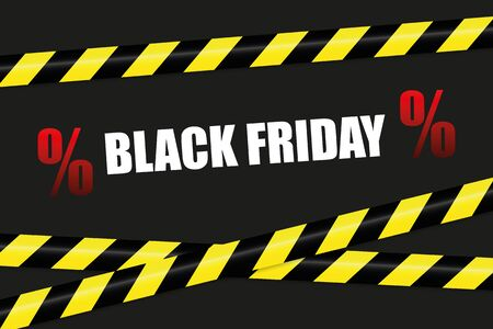 black friday promotion with warning tape vector illustration EPS10 向量圖像