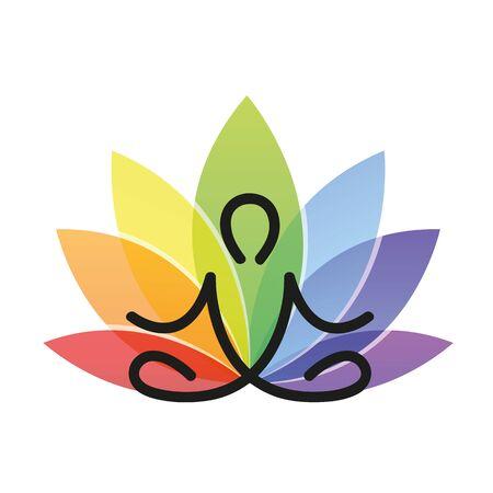 meditation yoga outline with colorful lotus flower vector illustration EPS10