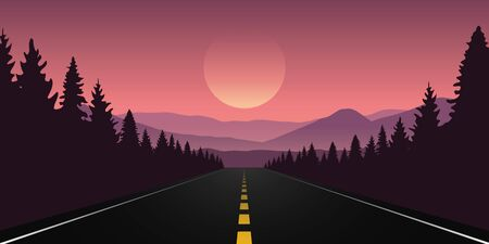 straigth road in the forest with purple mountain landscape vector illustration EPS10 向量圖像