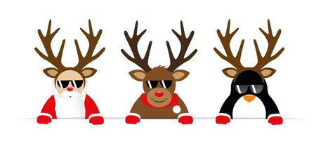 funny christmas cartoon with cute reindeer santa claus and penguin with sunglasses and antler vector illustration EPS10 向量圖像