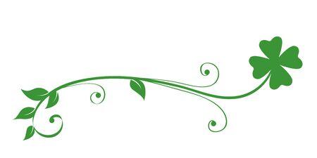 green tendril clover isolated on white background vector illustration EPS10