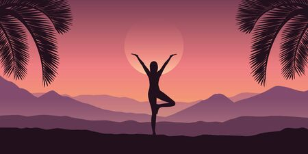 girl makes yoga at tropical red mountain landscape in purple colors vector illustration EPS10 向量圖像