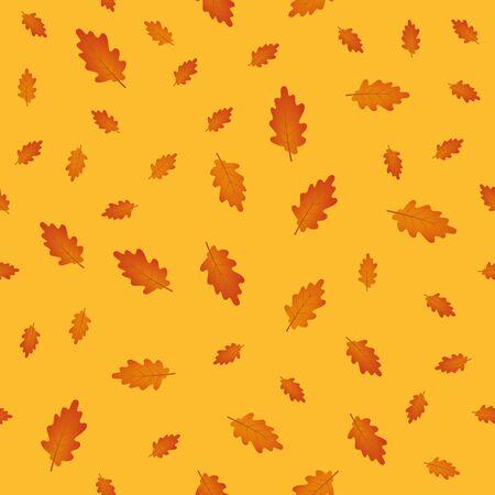 seamless pattern autumn leaves on orange background vector illustration EPS10