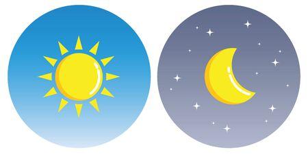 Soleil et lune avec des nuages en cercle jour et nuit concept vector illustration EPS10