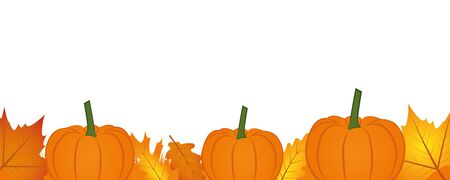 autumn background banner with autumn leaves and pumpkin vector illustration EPS10 일러스트