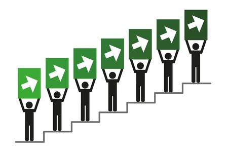 People on success stairs pictogram with arrow to the top vector illustration EPS10 Ilustração