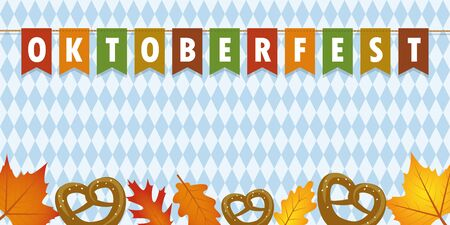 oktoberfest party flags on bavaria flag texture background with autumn leaves and pretzel vector illustration EPS10 Illustration