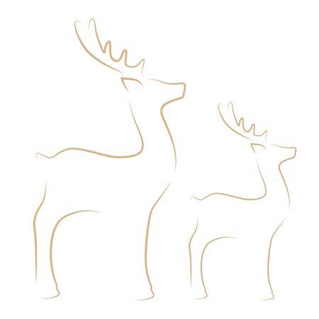 reindeer line drawing on white background vector illustration EPS10
