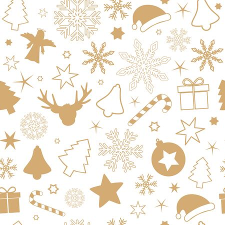 seamless pattern christmas design with snowflake stars angel gift bell and candy cane on white background vector illustration EPS10
