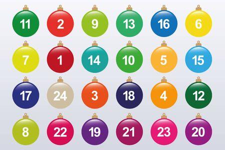 colorful christmas ball advent calendar on white background vector illustration EPS10 Stock Illustratie
